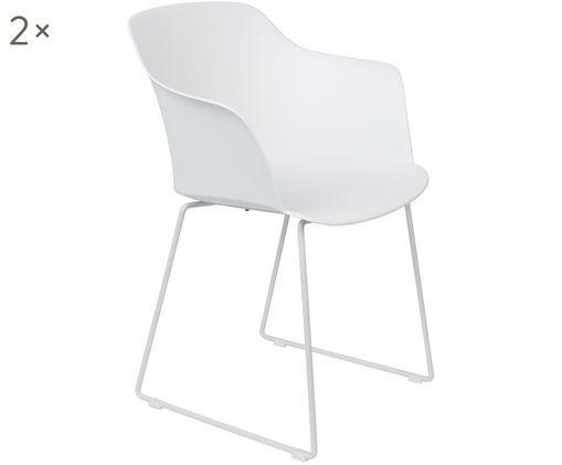 Design-Armlehnstühle Tango, 2 Stück, Sitzschale: Polypropylen, Füße: Stahl, pulverbeschichtet, Weiß, B 58 x T 54 cm