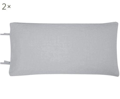 Poszewka na poduszkę z lnu Maria, 2 szt., 52% len, 48% bawełna Z efektem stonewash zapewniającym miękkość w dotyku, Szary, S 40 x D 80 cm