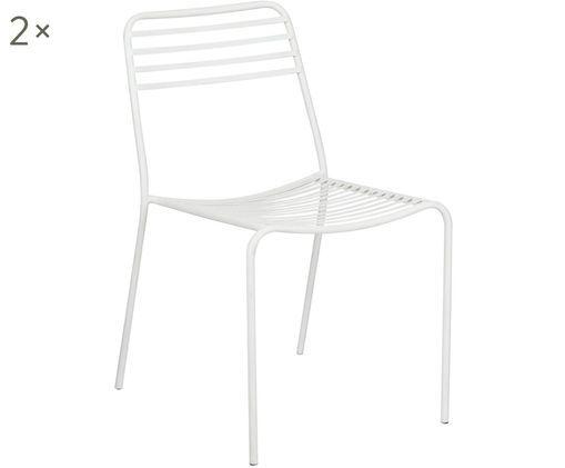 Metalen stoelen Tula, 2 stuks, Gepoedercoat metaal, Wit, B 48 x D 54 cm