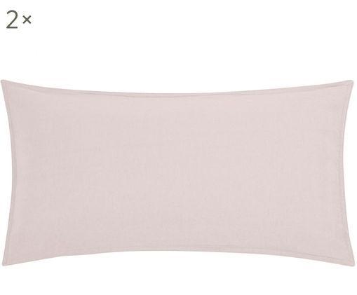 Poszewka na poduszkę z lnu Carla, 2 szt., 52% len, 48% bawełna Z efektem sprania, Fiołkoworóżowy, S 40 x D 80 cm