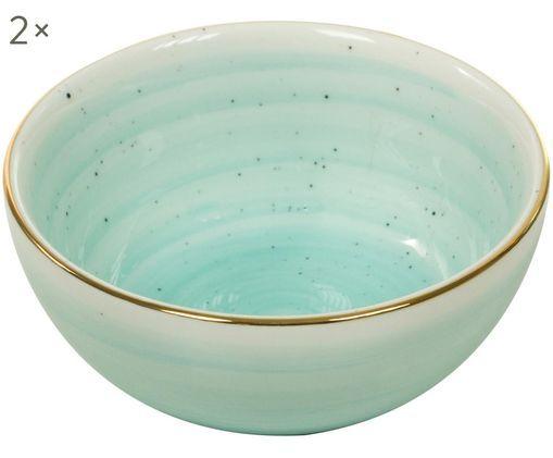 Handgefertigte Schälchen Bol mit Goldrand, 2 Stück, Türkisblau