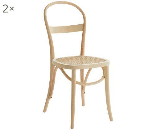 Houten stoelen Rippats, 2 stuks, Berkenhout, rotan, Berkenhoutkleurig, rotankleurig, B 39 x D 53 cm
