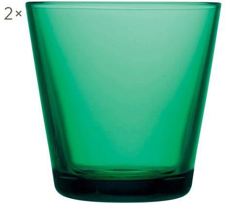 Wassergläser Kartio in Grün, 2er-Set, Glas, Smaragdgrün, Ø 8 x H 8 cm