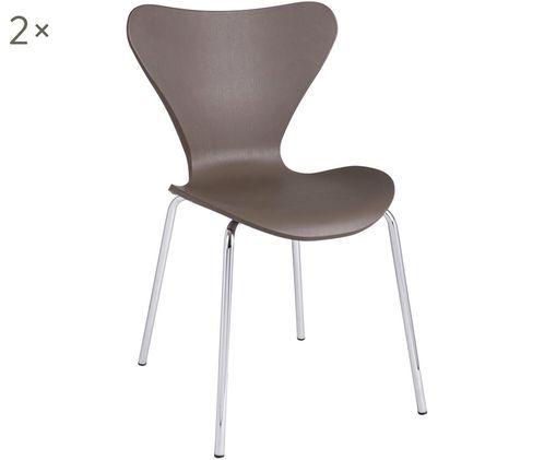 Stapelbare Kunststoffstühle Tessa, 2 Stück, Sitzfläche: Kunststoff (Polypropylen), Beine: Metall, verchromt, Camelfarben, Chrom, B 50 x T 50 cm
