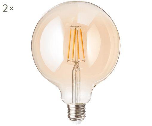 Leuchtmittel Nakir (E27 / 1,9Watt) 2 Stück, Leuchtmittelschirm: Glas, Leuchtmittelfassung: Aluminium, Bernsteinfarben, Ø 12 x H 18 cm