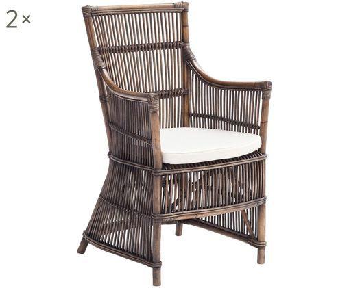 Rattan-Armlehnstühle Duchees, 2 Stück, Korpus: Rattan, naturbelassen Sitzkissen: Weiß