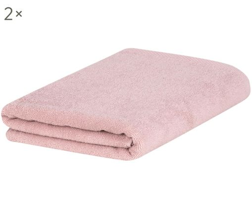 Asciugamano Comfort, 2 pz., 100% cotone, qualità media 450 g/m², Rosa cipria, Larg. 50 x Lung. 100 cm