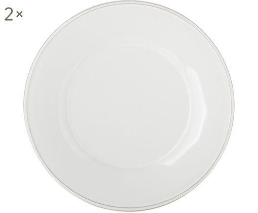 Piatto da colazione Constance in bianco, 2 pz., Ceramica, Bianco, Ø 24 cm