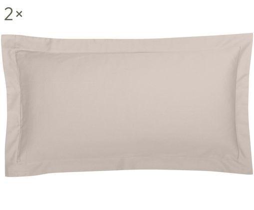 Poszewka na poduszkę z satyny bawełnianej Premium, 2 szt., Taupe, S 40 x D 80 cm