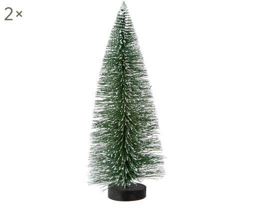 Oggetti decorativi Winter Forest, 2 pz., Materiale sintetico, filo metallico, Verde, Ø 11 x A 20 cm