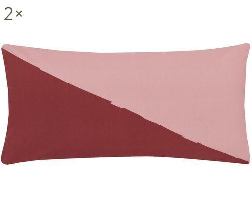 Perkal-Kissenbezüge Colorblock mit geometrischem Muster, 2 Stück, Webart: Perkal, Rot, Rosa, Gelb, Cremeweiß, 40 x 80 cm