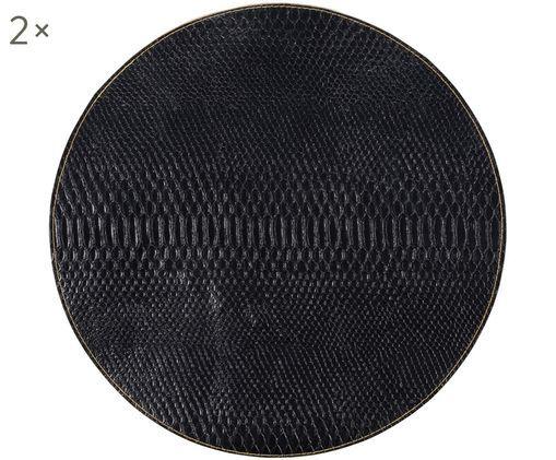 Set tovagliette rotonde Allie, 2 pz., Pelle sintetica, Nero, dorato, Ø 38 cm