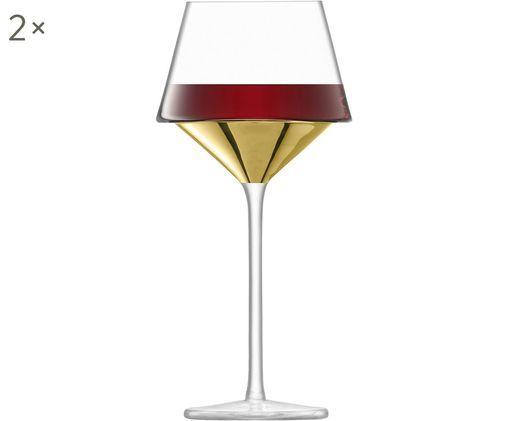 Verres à vin rouge soufflés bouche Space, 2pièces, Transparent, couleur dorée