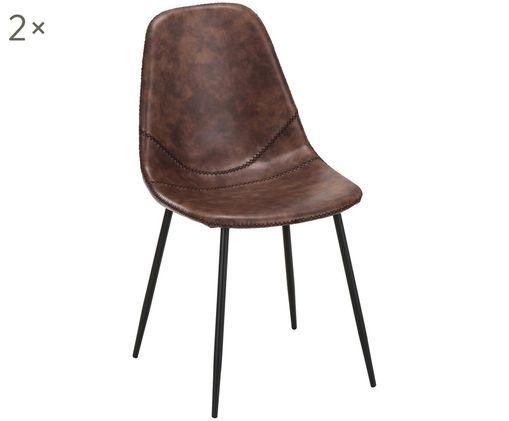 Krzesło tapicerowane ze sztucznej skóry  Linus, 2 szt., Tapicerka: sztuczna skóra (65% polie, Nogi: metal malowany proszkowo, Tapicerka: brązowy Nogi: czarny, matowy, S 41 x G 53 cm