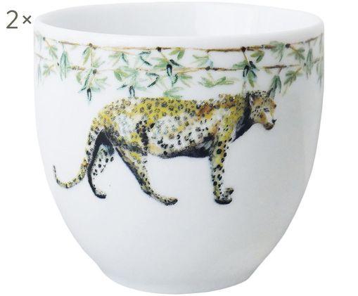 Becher Panther mit Tiermotiv, 2 Stück, Porzellan, Weiß, Gelb, Braun, Grün, Schwarz, Ø 8 x H 7 cm