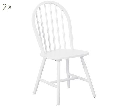 Krzesło z drewna w stylu windsor Jonas, 2 szt., Drewno kauczukowe, lakierowane, Biały, S 46 x G 51 cm
