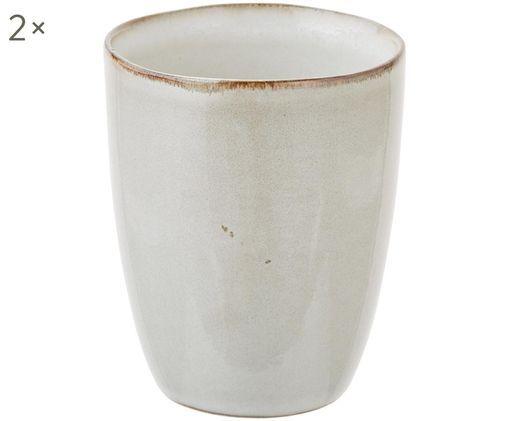 Handgemachte Becher Thalia, 2 Stück, Steinzeug, Creme mit dunklem Rand, Ø 9 x H 11 cm