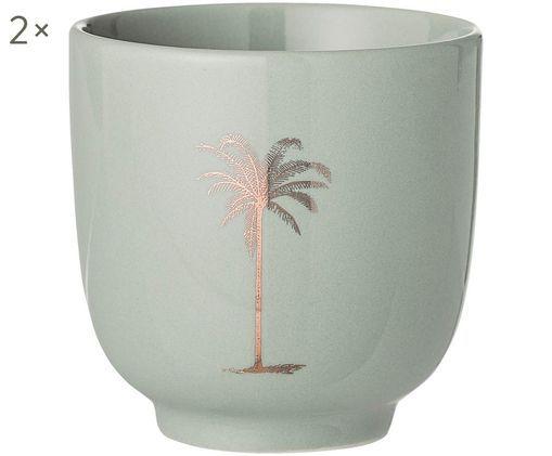 Becher Reese, 2 Stück, Keramik, Resedagrün, Kupferfarben, Ø 7 x H 7 cm