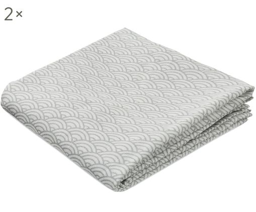 Pañales de tela Wave, 2uds., Algodón orgánico, Gris, blanco, An 70 x L 70 cm