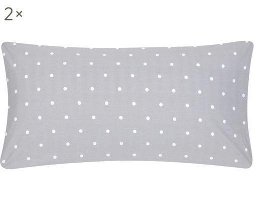 Poszewka na poduszkę z bawełny renforcé Dotty, 2 szt., Szary, biały, S 40 x D 80 cm