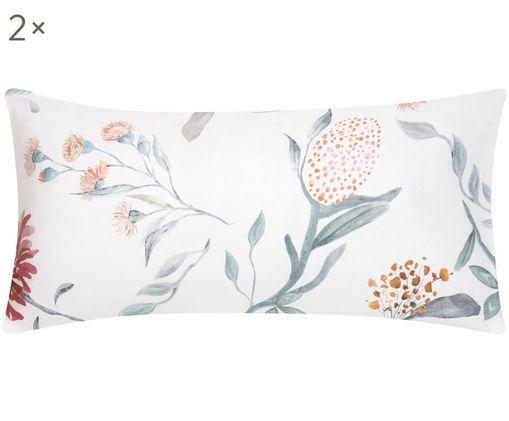 Baumwollsatin-Kissenbezüge Evie mit Aquarell Blumenmuster, 2 Stück, Webart: Satin, Vorderseite: Floraler DruckRückseite: Weiß, 40 x 80 cm