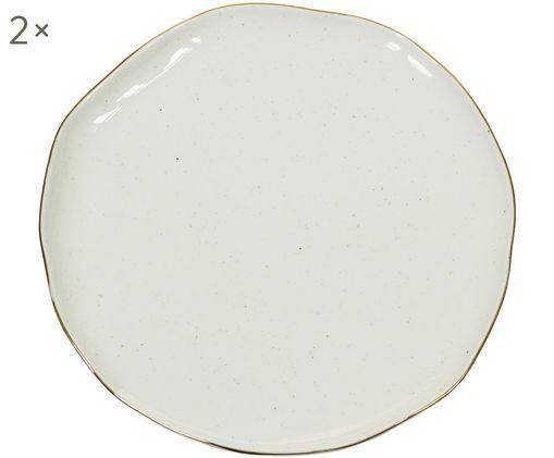 Handgefertigte Brotteller Bol mit Goldrand, 2 Stück, Porzellan, Cremeweiß, Ø 16 x H 2 cm