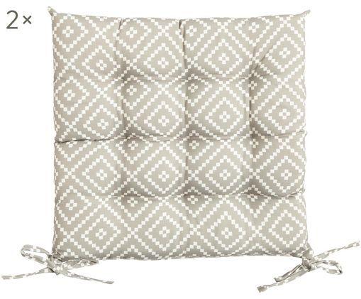 Outdoor-Sitzkissen Little Diamond, 2 Stück, Bezug: Polyester, Hellgrau, Weiß, 38 x 5 cm