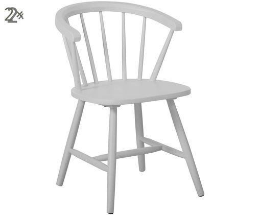 Sedia con braccioli Megan in legno in design Windsor, 2 pz., Grigio chiaro