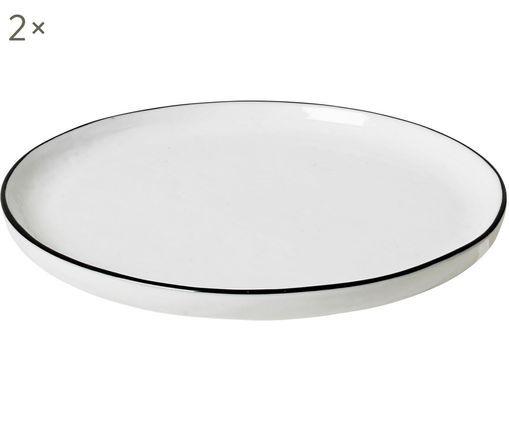 Handgefertigte Dessertteller Salt, 2 Stück, Porzellan, Gebrochenes Weiß<br>Rand: Schwarz, Ø 18 cm
