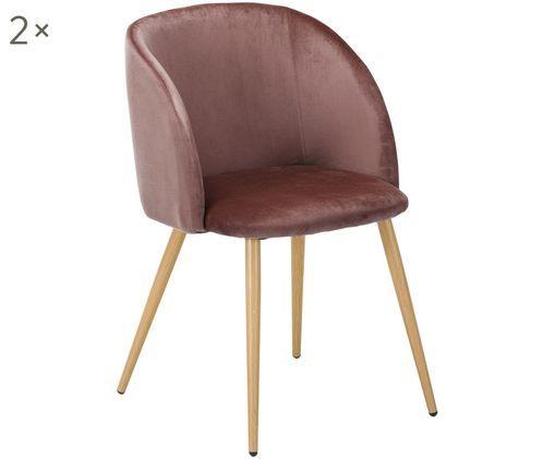 Krzesło tapicerowane z aksamitu Yoki, 2 szt., Tapicerka: aksamit (100% poliester), Tapicerka: pianka, 27 kg/m³, Nogi: metal o wyglądzie drewna , Tapicerka: brudny różowy Nogi: metal, imitacja drewna dębowego, S 51 x G 56 cm
