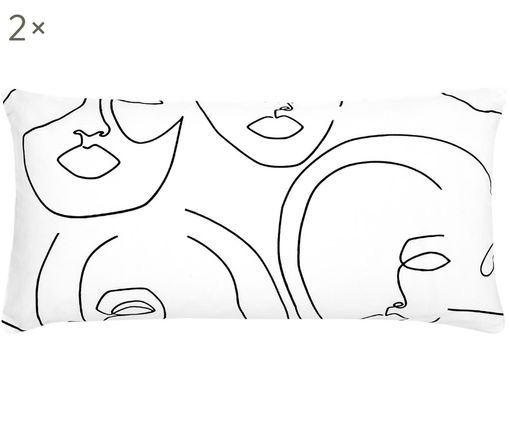 Perkal-Kissenbezüge Aria mit abstrakter One Line Zeichnung, 2 Stück, Webart: Perkal, Weiß, Schwarz, 40 x 80 cm