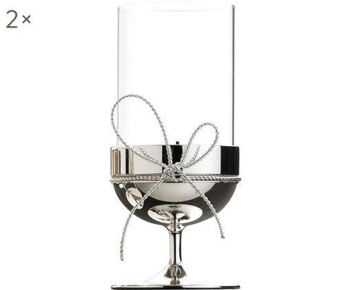Windlichter Love Knots, 2 Stück, Schleife: Metall, versilbert, Silberfarben, Transparent, Ø 5 x H 12 cm