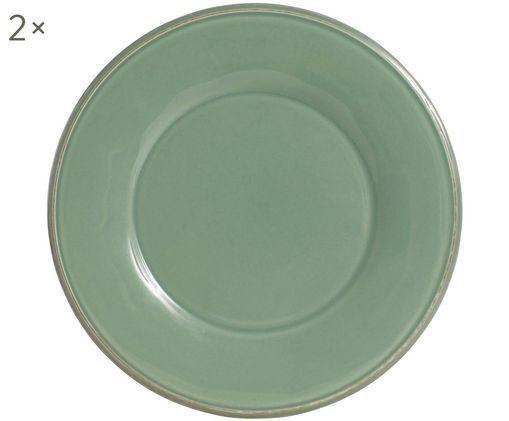 Assiettes plates Constance, 2pièces, Vert sauge