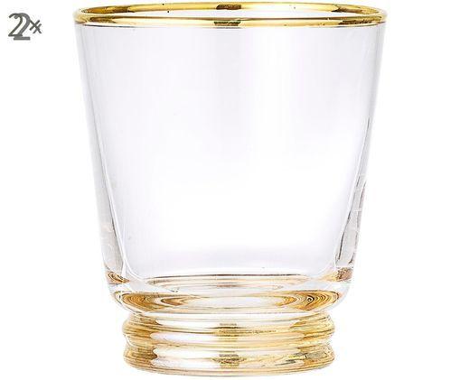 Bicchieri per l'acqua  Frame, 2 pz., Trasparente, oro