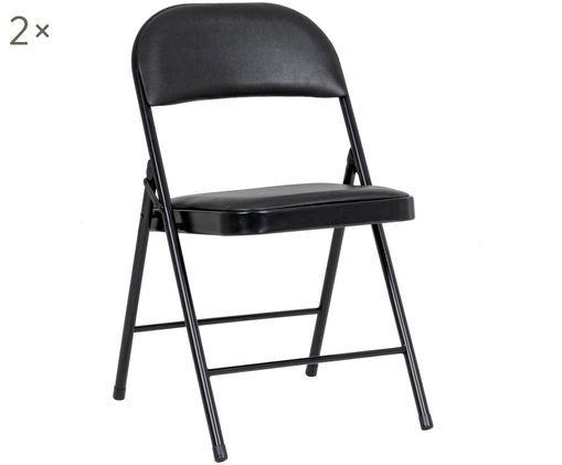 Krzesło rozkładane Felicity, 2 szt., Stelaż: metal malowany proszkowo, Czarny, S 45 x G 45 cm