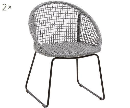 Krzesło ogrodowe  z podłokietnikami Sania, 2 szt., Nogi: metal malowany proszkowo, Jasny szary, S 65 x G 58 cm