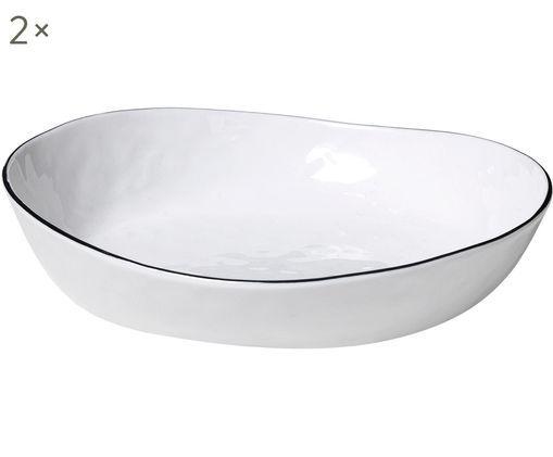 Handgemachte Schalen Salt, 2 Stück, Porzellan, Gebrochenes Weiß, Schwarz, 20 x 4 cm