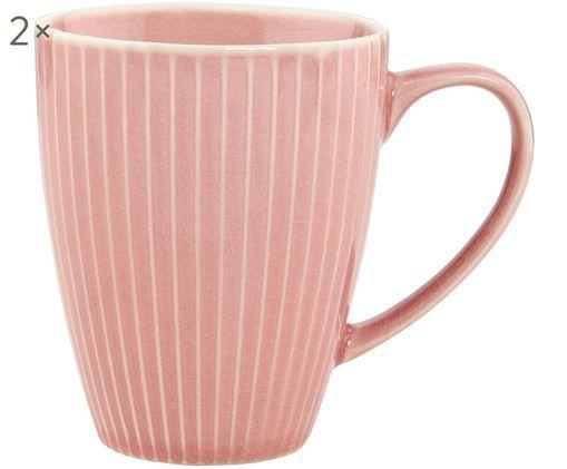 Kaffeetassen Hanami Stripe, 2 Stück, Steingut, Rosa, Ø 9 x H 8 cm