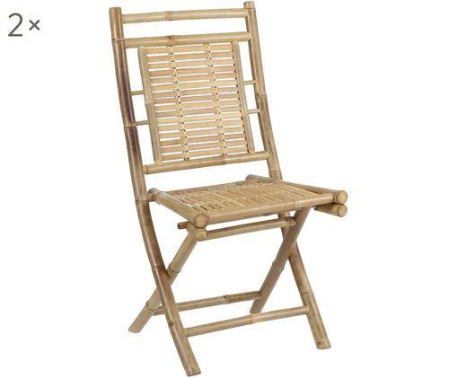 Bamboehouten stoelen Tropical, 2 stuks, Bamboehout, Bruin, B 45 x D 55 cm