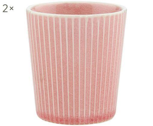 Becher Hanami Stripe, 2 Stück, Steingut, Rosa, Weiß, Ø 9 x H 8 cm