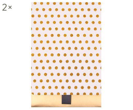 Sobres para regalo Glitter Dots, 2uds., Papel, Dorado, blanco, An 13 x Al 18 cm