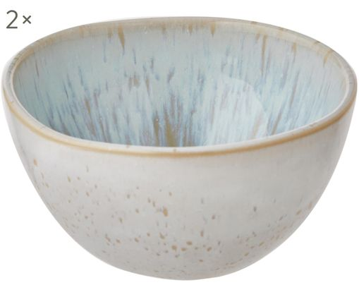 Ciotole dipinte a mano Areia, 2 pz., Terracotta, Azzurro, bianco latteo, beige chiaro, Ø 7 x Alt. 3 cm