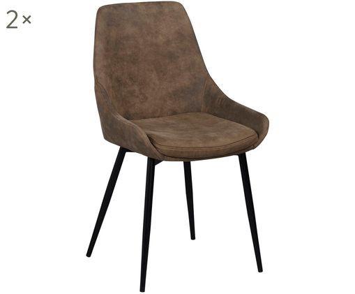 Krzesło tapicerowane Sierra, 2 szt., Brązowy, czarny
