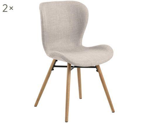 Gestoffeerde stoelen Batilda, 2 stuks, Bekleding: polyester, Poten: gelakt en geolied massief, Zandkleurig, 56 x 83 cm