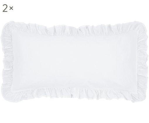 Perkal-Kissenbezüge Florence, 2 Stück, Webart: Perkal, Weiß, 40 x 80 cm