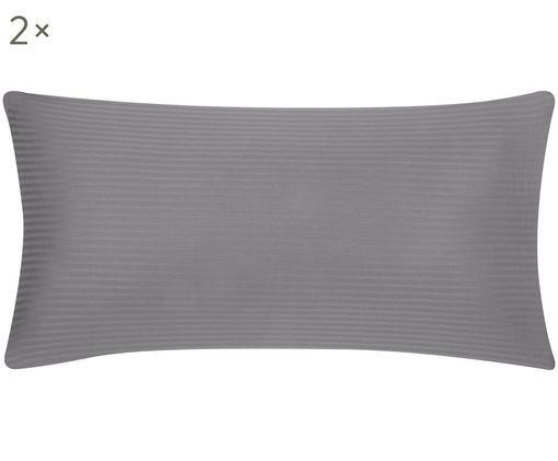 Poszewka na poduszkę z satyny bawełnianej Stella, 2 szt., Ciemnyszary, 40 x 80 cm