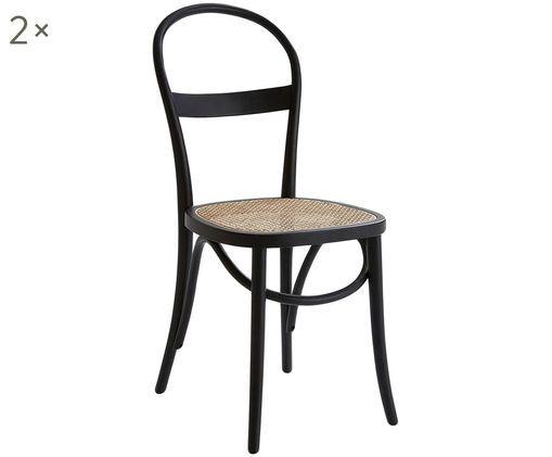 Sedia in legno Rippats, 2 pz., Legno, rattan, Nero, rattan, Larg. 39 x Prof. 53 cm