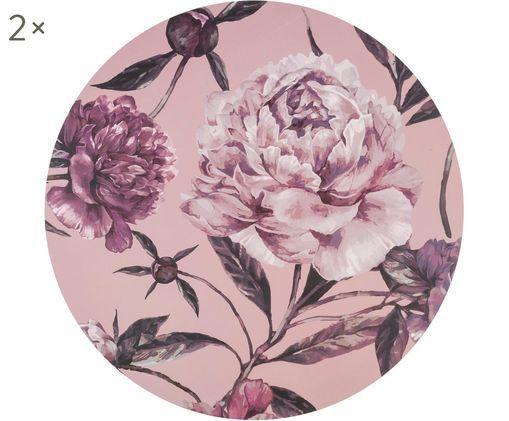 Tovaglietta di plastica rotonda Secret Garden, 2 pz., Retro: sughero, Tonalità rosa, verde, Ø 38 cm