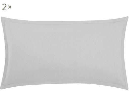 Gewaschene Leinen-Kissenbezüge Breeze in Hellgrau, 2 Stück, 52% Leinen, 48% Baumwolle Mit Stonewash-Effekt für einen weichen Griff, Hellgrau, 40 x 80 cm