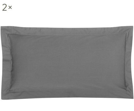 Poszewka na poduszkę z satyny bawełnianej Premium, 2 szt., Ciemnyszary, S 40 x D 80 cm